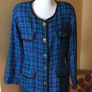 VINTAGE '80's sz14 Bold Plaid Suit LITEWEIGHT SPad